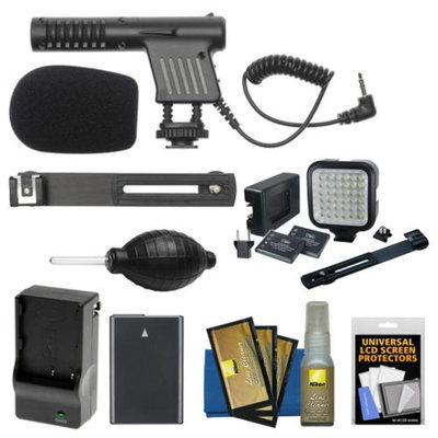 Vidpro Mini Condenser Microphone with EN-EL14 Battery & Charger + Video Light & Bracket for Nikon D3100, D3200, D5100, D5200 DSLR Cameras