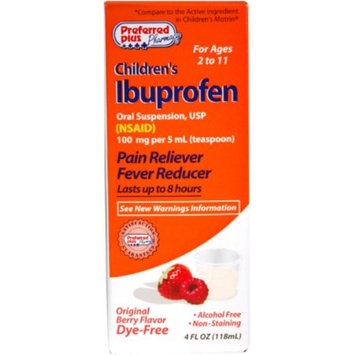 Ibuprofen Children's Oral Suspension Pain Reliever/Fever Reducer, Berry [DYE-FREE] 4 oz