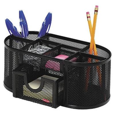 Rolodex Steel Mesh Pencil Cup Organizer with Eight Compartments -