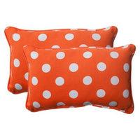 Pillow Perfect Outdoor 2-Piece Rectangular Toss Pillow Set - Orange/White Polka Dot