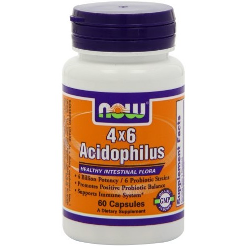 Now Foods 4 X 6 Acidophilus, (4 Billion Potency, 6 Probiotic Strains), 60 Capsules