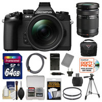 Olympus OM-D E-M1 Micro 4/3 Digital Camera with 12-40mm f/2.8 Lens (Black) with 40-150mm Lens + 64GB Card + Case + Battery & Charger + Tripod Kit