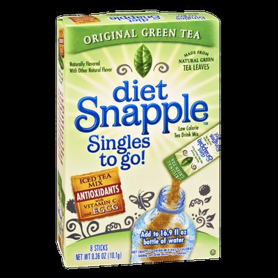 Diet Snapple Singles To Go Original Green Tea Antioxidants Iced Tea Mix- 8 CT