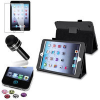 Insten iPad Mini 3/2/1 Case, by INSTEN Black Leather Case Stand Flip Cover+Protector/Pen for iPad Mini 3 2 1