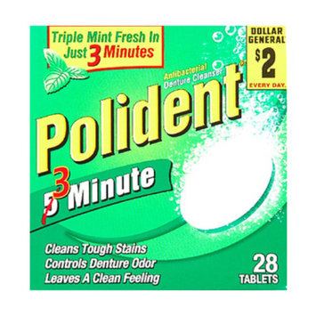 Polident 3 Minute Denture Tablets, 28 ct