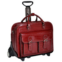 Siamod San Martino Leather Wheeled Laptop Case Cherry Red