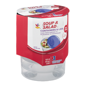 Ahold Soup & Salad Containers & Lids - 3 CT