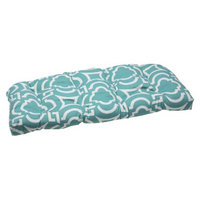 Pillow Perfect Outdoor Wicker Loveseat Set - Blue Green/White Carmody