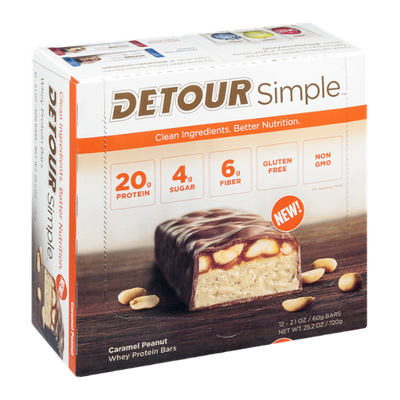 Detour Simple Whey Protein Bars Caramel Peanut - 12 CT
