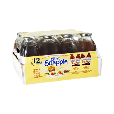 Snapple Diet Peach Tea, Diet Raspberry Tea, Diet Lemonade Tea, Diet Plum-A-Granate Tea - 12 PK
