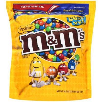 M & M's Milk Chocolate Coated Candy w/Peanut Center, 56 oz Bag