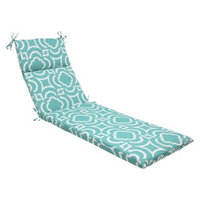 Pillow Perfect Outdoor Chaise Lounge Cushion - Blue Green/White Carmody