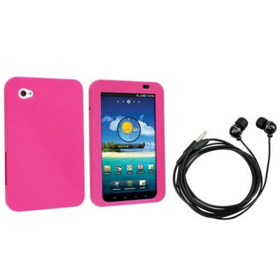 Insten INSTEN Pink Silicone Skin Case Cover+In ear Blk Headset For Samsung Galaxy Tab P1000 7