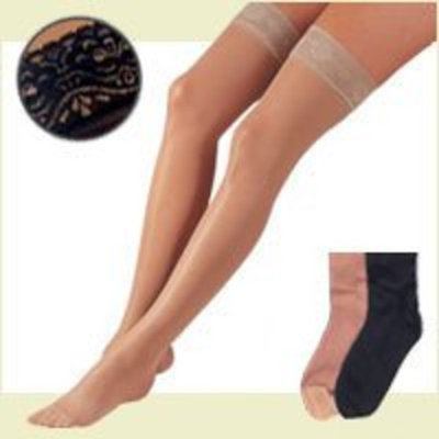 Fla Orthopedics FLA Activa Sheer Therapy Hosiery, 15-20 mmHg Thigh Highs Lace Top - Size C - Black