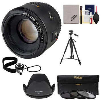 Canon EF 50mm f/1.8 II Lens + 3 UV/CPL/ND8 Filters + Hood + Tripod Kit for EOS 6D, 70D, 5D Mark II III, Rebel T3, T3i, T4i, T5, T5i, SL1 DSLR Camera