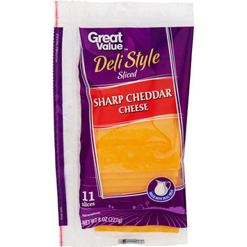 Great Value Sharp Cheddar Sliced Cheese, 8 oz