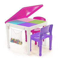Tot Tutors 2-in-1 Pink Girls Plastic Building Block Compatible Construction Table and 2 Chairs Set