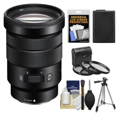 Sony Alpha NEX E-Mount 18-105mm f/4.0 OSS PZ Zoom Lens with NP-FW50 Battery + Tripod + 3 Filters + Kit for A7, A7R, A7S, A3000, A5000, A5100, A6000 Cameras