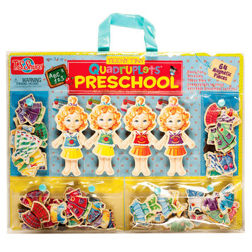 T.s. Shure T.S. Shure Teeny Tiny Quadruplets Preschool Wooden Magnetic Dress-Up Doll Set