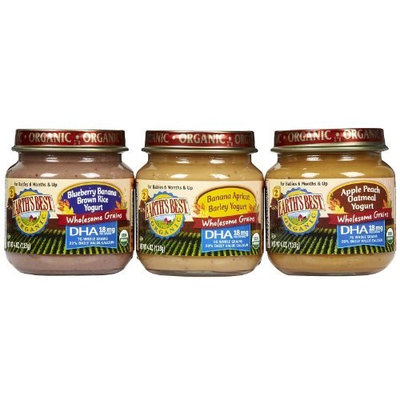 Earth's Best Organic Fruit and Whole Grain Yogurt 3 Flavor Variety Pack, 4 Ounce Jars