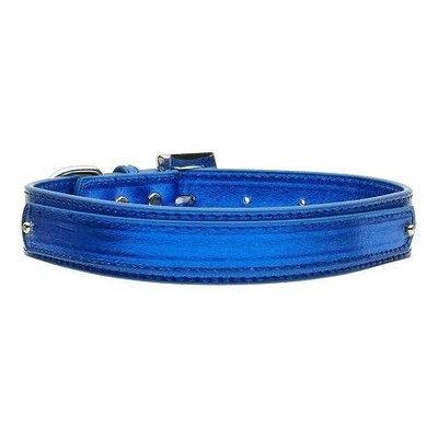 Mirage Pet Products 1802 MDBLM .75 in. 18mm Metallic TwoTier Collar Blue Medium