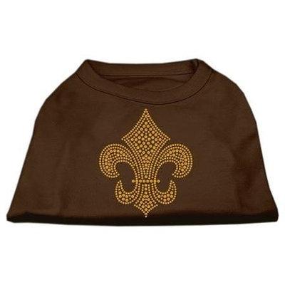 Ahi Gold Fleur de Lis Rhinestone Shirts Brown XS (8)