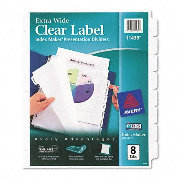 Avery index dividers extra wide labels 8 tab legal for Avery 8 tab clear label dividers template