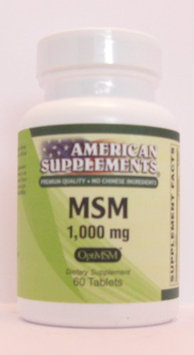 MSM 1000 MG No Chinese Ingredients American Supplements 60 Tabs