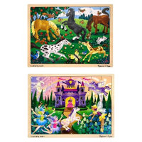 Melissa & Doug Deluxe Wooden 48- Piece Jigsaw Puzzle Bundle -