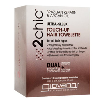 Giovanni 2chic Ultra-Moist Touch-Up Hair Towelette for All Hair Types, Brazilian Keratin & Argan Oil, 10 ea