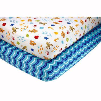 Disney Baby Bedding Nemo's Wavy Days Set of 2 Crib Sheets