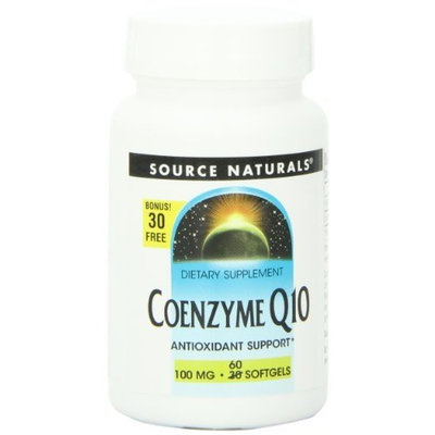Source Naturals CO-Q10 Tablets, 100 mg, 30+30 Softgels