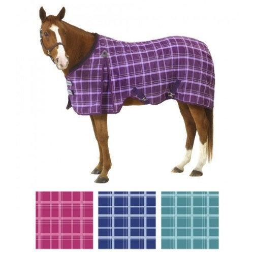 "Equiessentials EZ-Care Light Plaid Stable Sheet 81"" Purple Plaid"