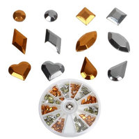 Bundle Monster BMC Copper Silver Colored Alloy Metal 3D Cut Outs Nail Art Studs Variety Wheel