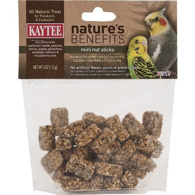 Kaytee Natures Benefits Mini Nut Stick for Parakeet and Cockatiel, 4-Ounce