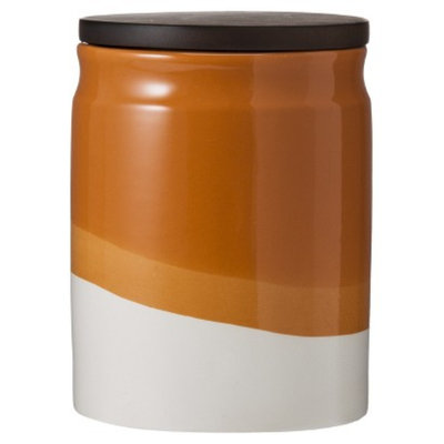 Threshold Ceramic Dipped Paint Medium Food Canister with Wood Lid -