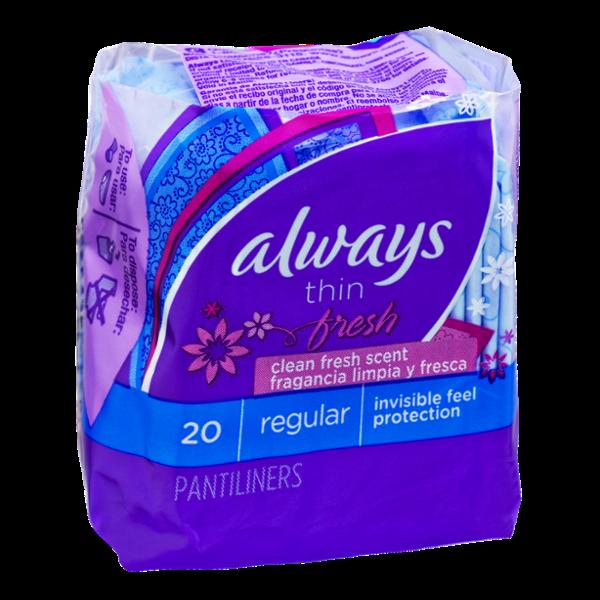 Always Fresh Thin Regular Pantiliners - 20 CT
