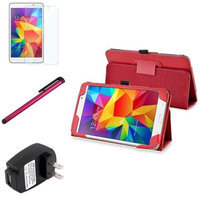 Insten INSTEN Red Leather Stand Case+Protector Pen Accessory For Samsung Galaxy Tab 4 7.0 7 SM-T230