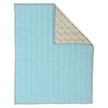 Sumersault Mix N' Match Aqua with Orange Deco Dot Reversible Quilt
