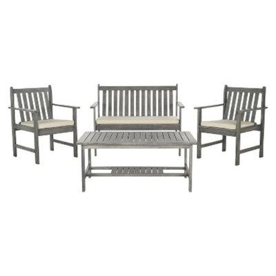 Safavieh Cyprus 4-Piece Wood Patio Conversation Furniture Set - Grey