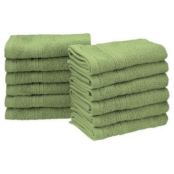 Blue Nile Mills Eco Friendly 12-Piece 100% Ring-Spun Cotton Washcloth Face Towel Set, Terrace G