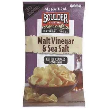 Boulder Canyon Natural Foods Malt Vinegar & Sea Salt Kettle Cooked Potato Chips, 6.5 oz (Pack of 12)