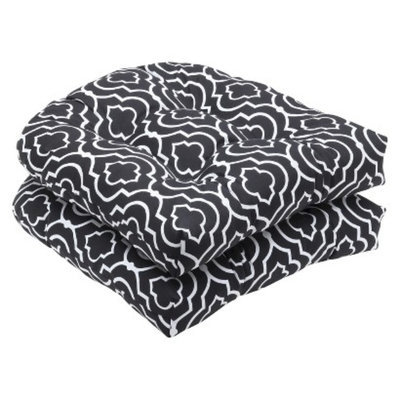 Pillow Perfect Outdoor 2-Piece Wicker Seat Cushion Set - Black/White Starlet