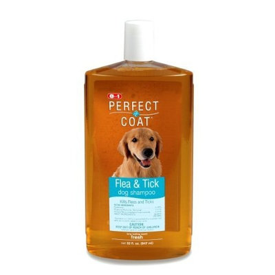 8In1 Pet Products Perfect Coat Flea and Tick Shampoo for Dogs, 32 Ounce Bottle, Fresh Scent