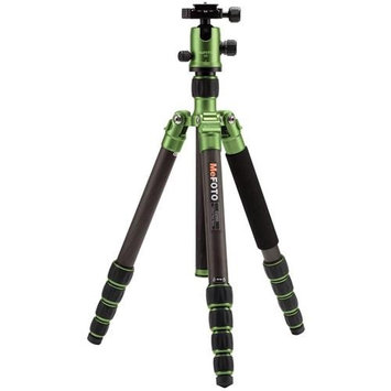 MeFOTO GlobeTrotter Carbon Fiber Travel Tripod Kit, Includes Double Action Ball Head, Induro PU-50 Slide-In Quick Release Plate, Carry Case with Strap, Green