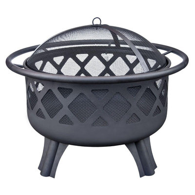 Hampton Bay Outdoor Fire Pits Crossfire 29.50 in. Steel Fire Pit with Cooking Grate High Heat Paint 25915