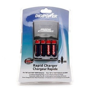Digipower Home & Car Battery Charger with 4AA Re-Chargeable Batteries