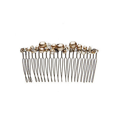 Colette Malouf Pearl and Crystal Clustered Medium Wire Comb