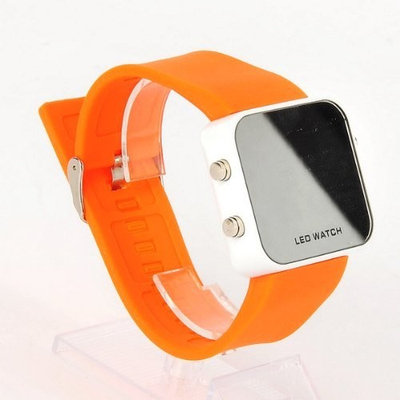 PARA Mirror Wristwatch Sport LED Digital Watch Orange