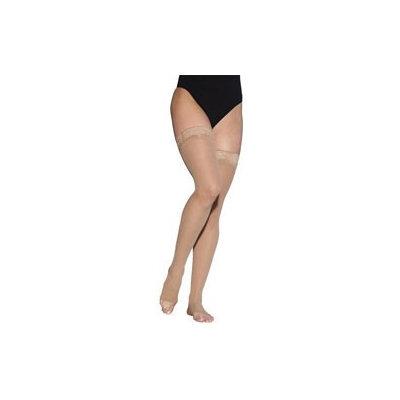 Sigvaris EverSheer 781NMSO36 15-20 Mmhg Open Toe Medium Short Thigh Hosiery For Women Suntan
